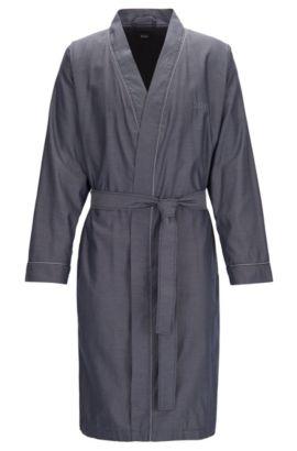 Robe de chambre en jacquard de coton léger, Bleu foncé