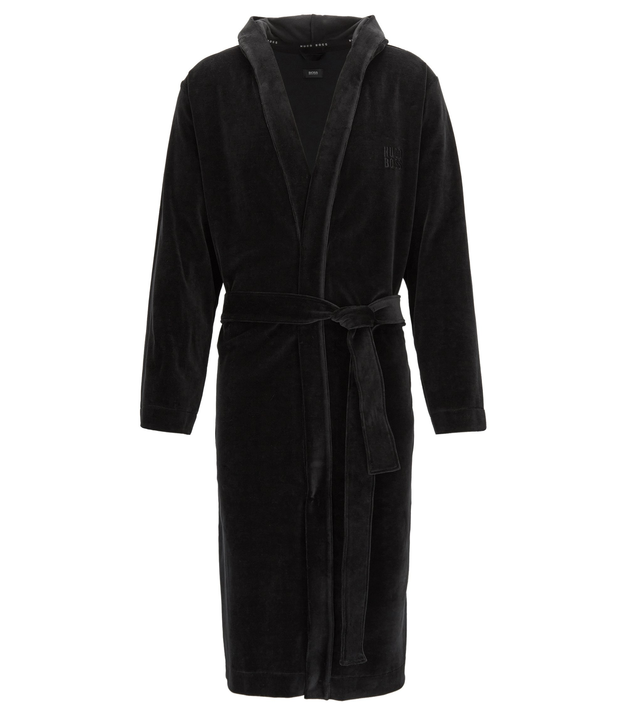 Cotton-blend dressing gown with hood, Black