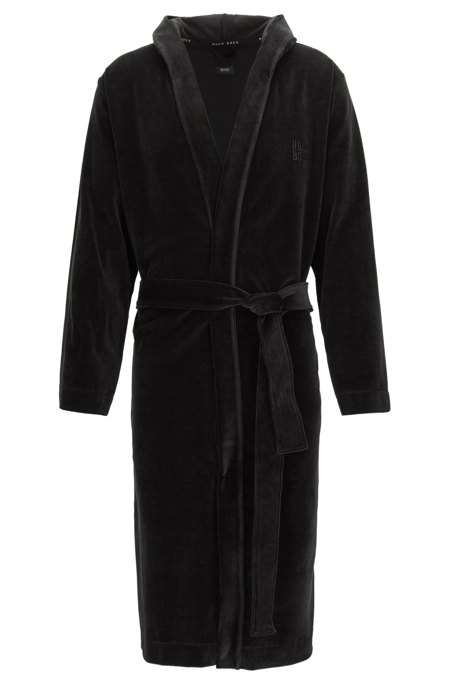 Cotton-blend dressing gown with hood