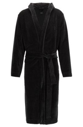 Robe de chambre à capuche en coton mélangé, Noir