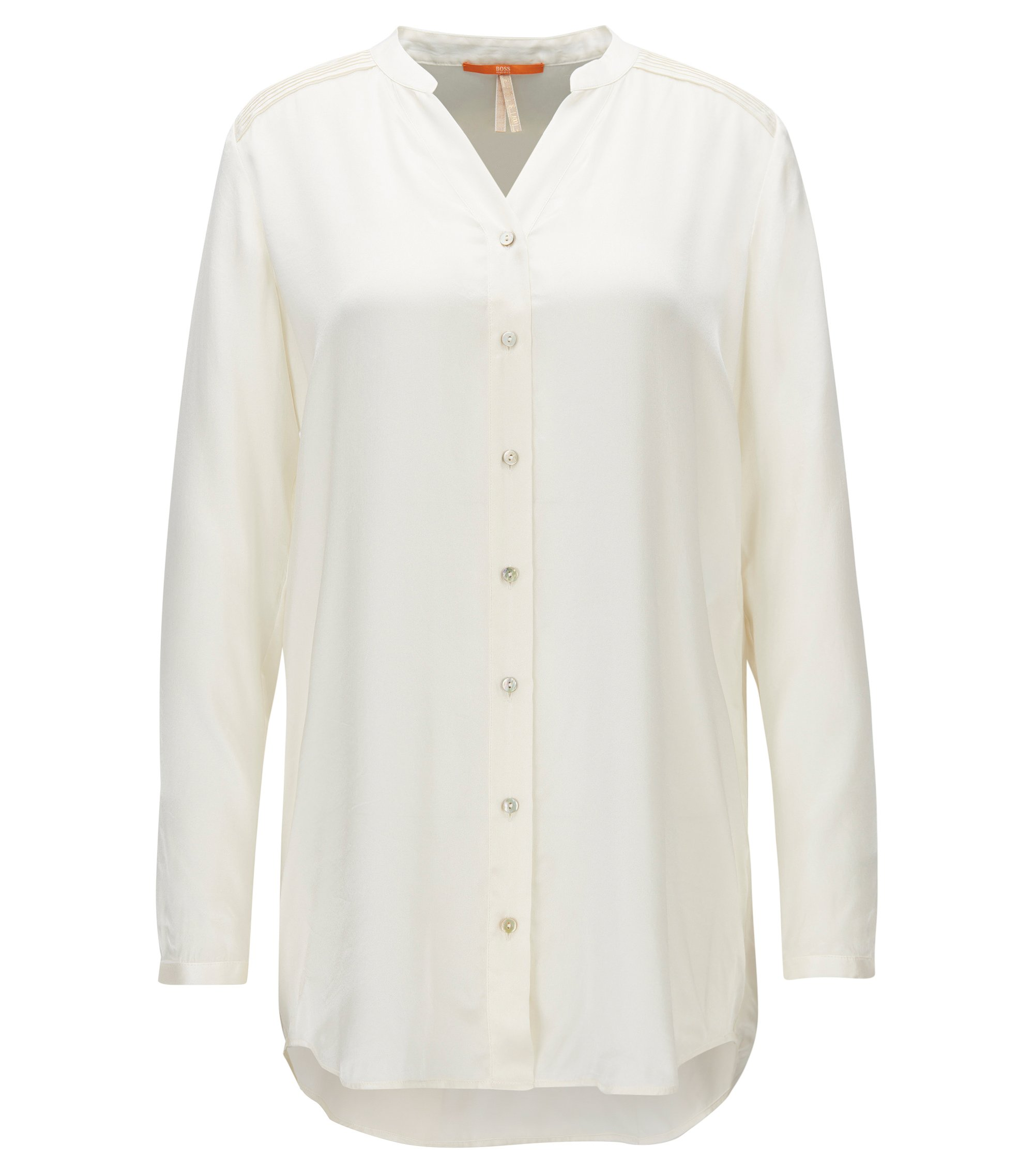 Relaxed-fit collarless blouse in pure silk, Natural