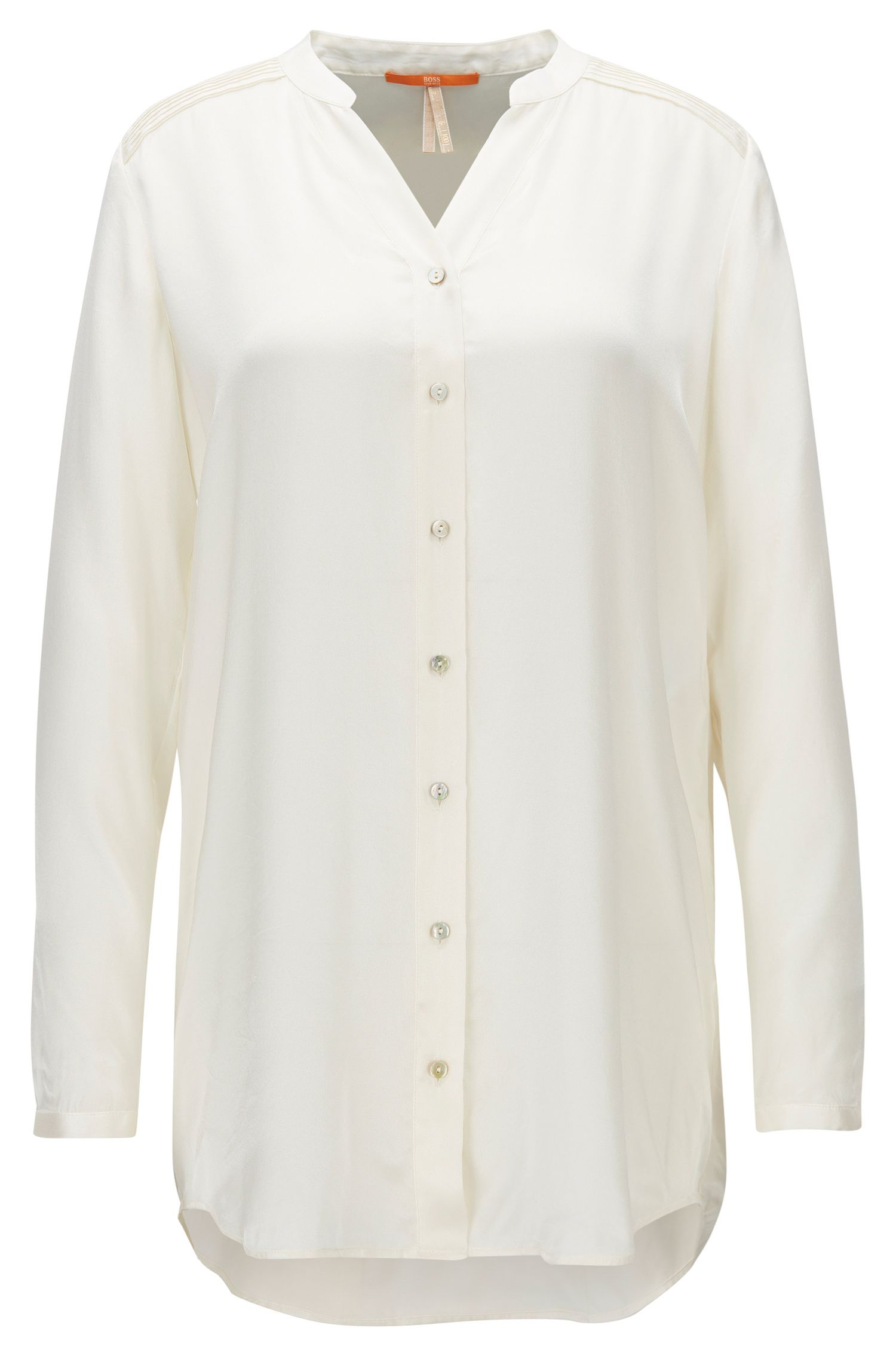 Relaxed-fit collarless blouse in pure silk