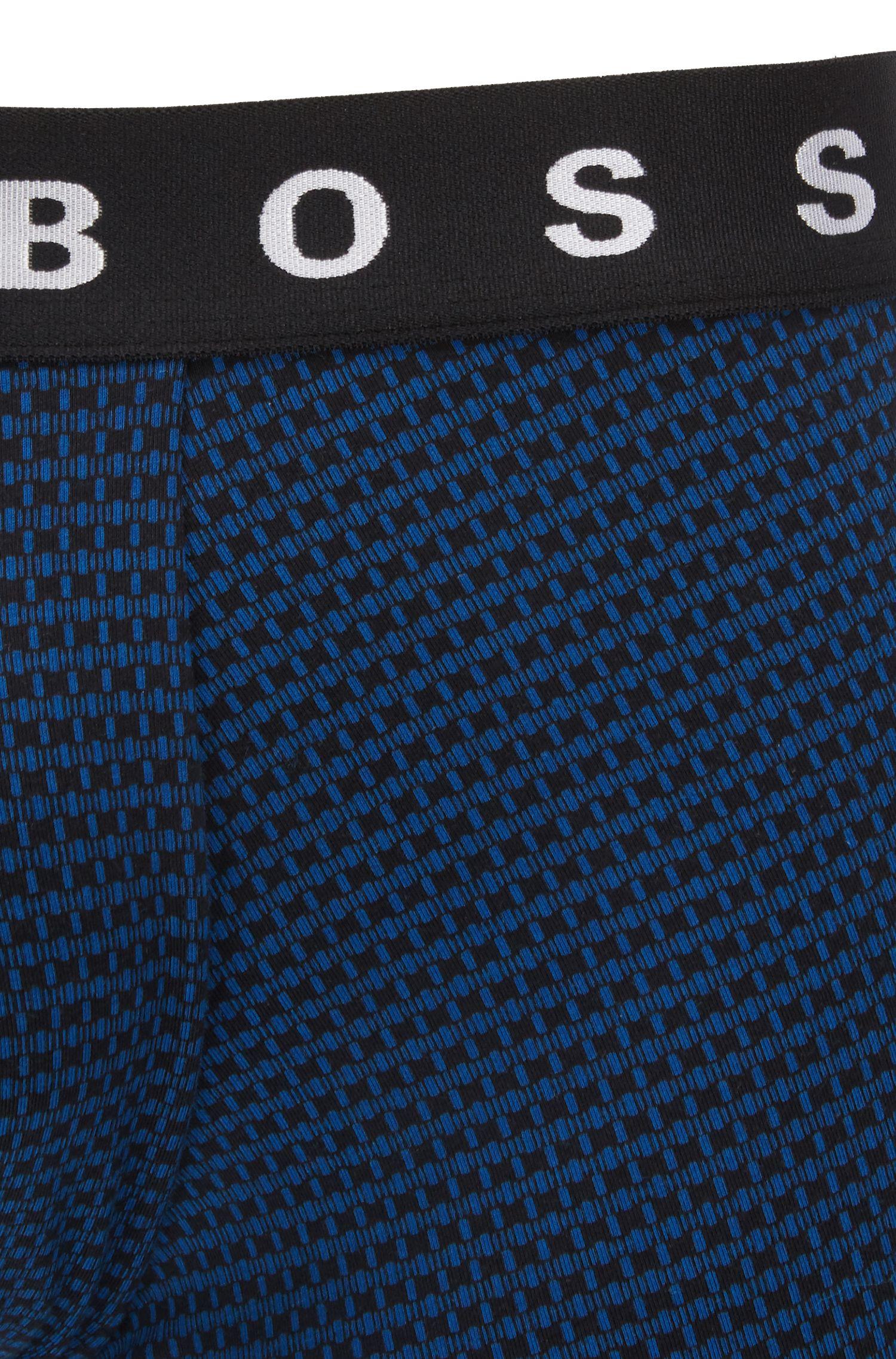 Boxer court à micro-motif en coton stretch mélangé