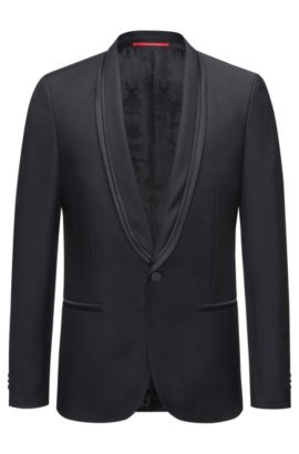 Extra-slim-fit jacket in a wool blend, Black