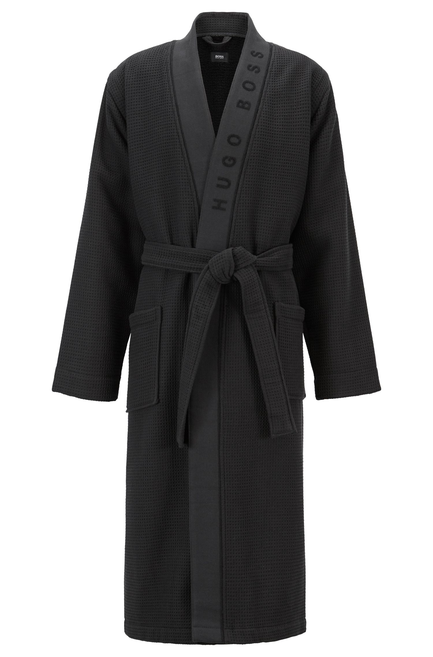 Boss Waffle Structure Dressing Gown With Logo Detail