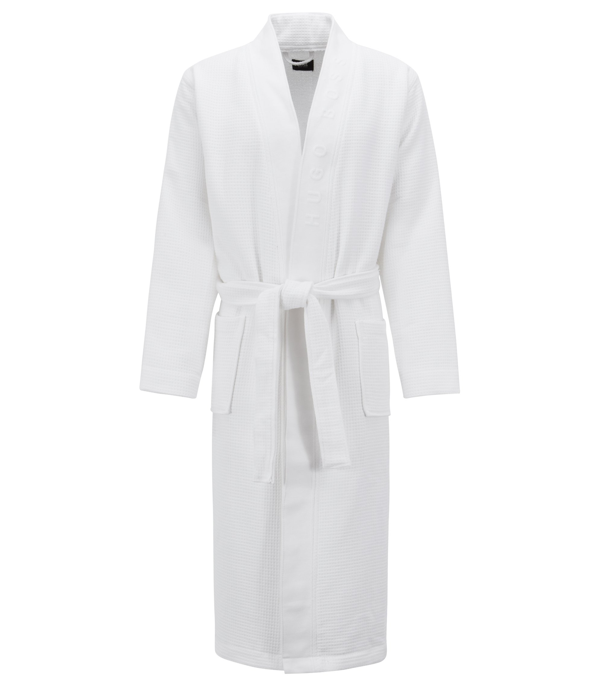 Waffle-structure dressing gown with logo detail, White