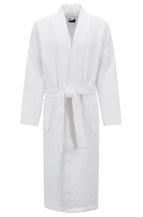 BOSS - Waffle-structure dressing gown with logo detail