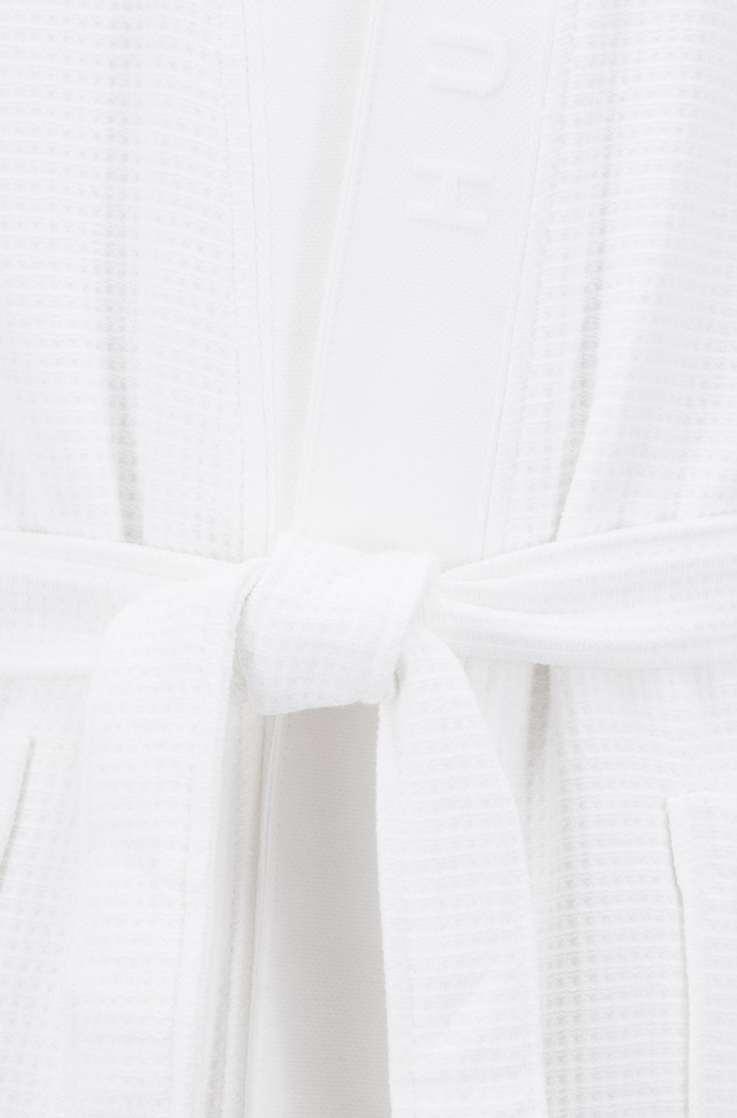 Ochtendmantel met wafelstructuur en logodetail, Wit