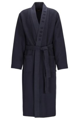 Waffle-structure dressing gown with logo detail, Dark Blue
