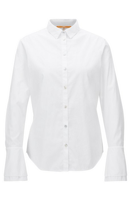 Regular-fit cotton blouse with layered tulip cuffs, White