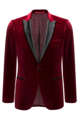 Slim-fit jacket in soft velvet, Dark Red