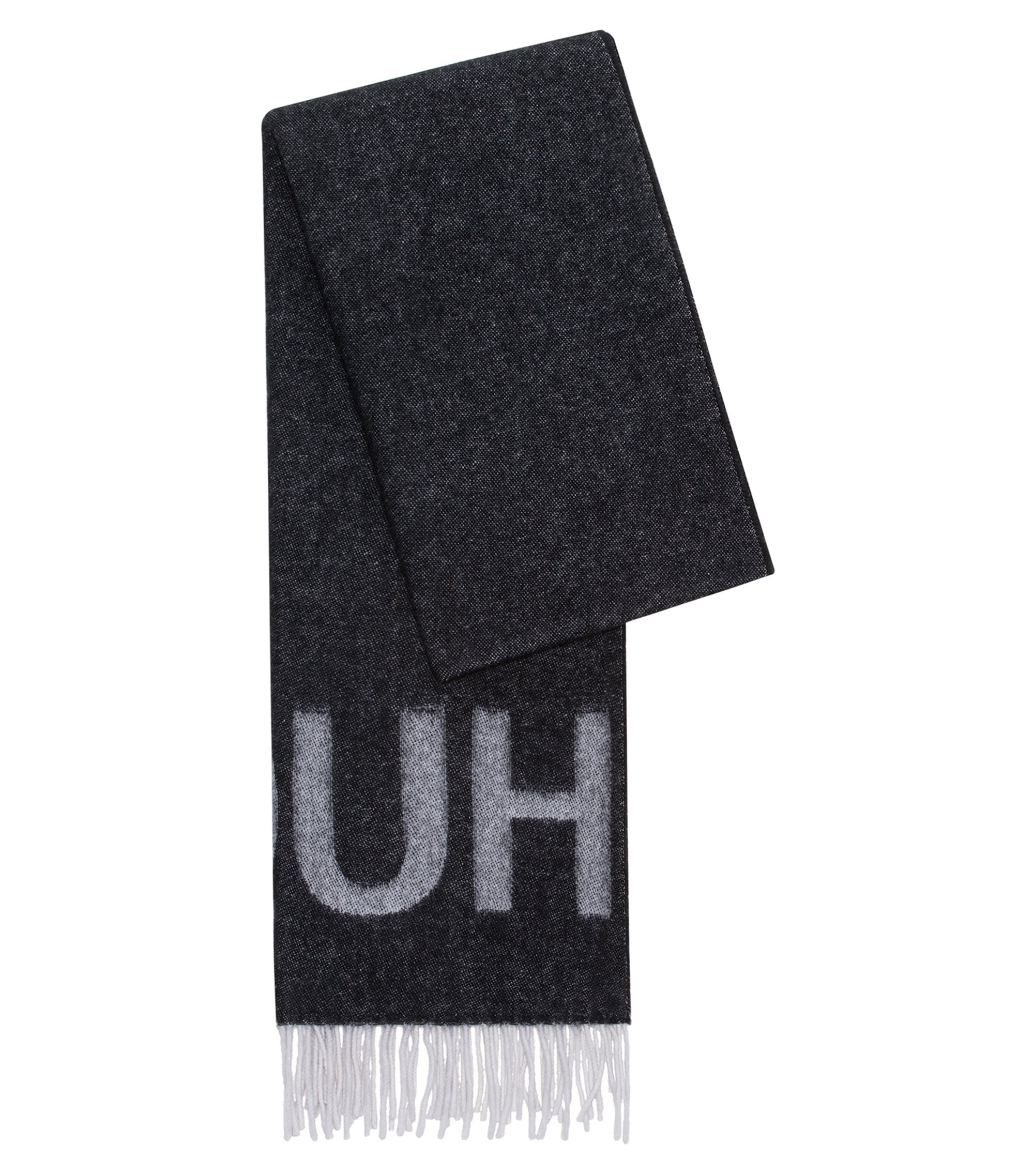 Reverse-logo scarf in a wool blend, Black