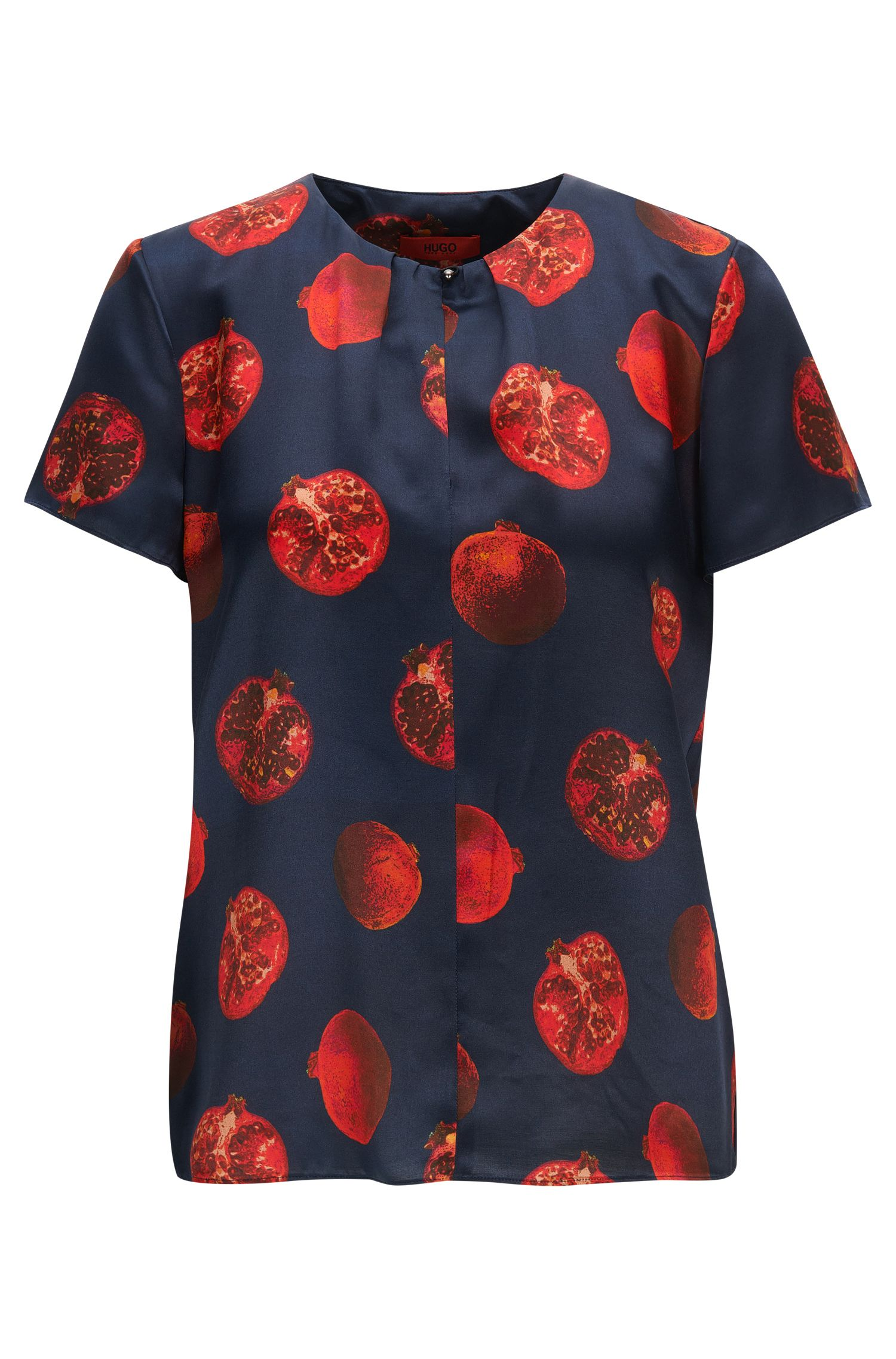 Pomegranate-print top with keyhole neckline