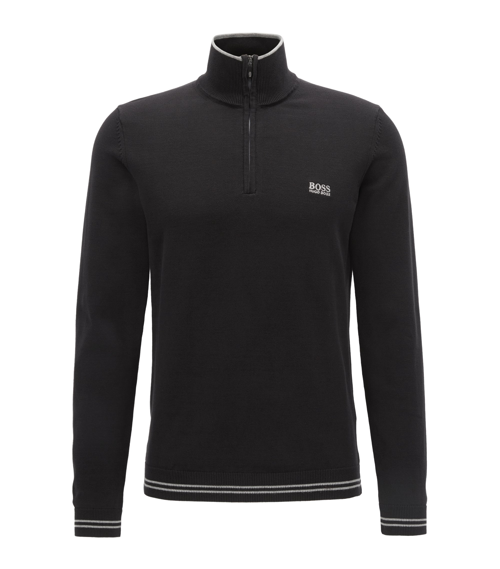 Cotton-blend sweater with a zip neck, Black