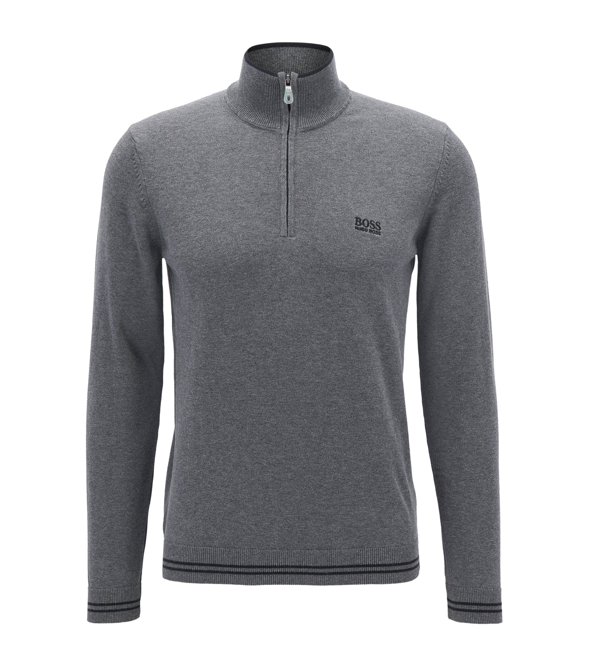 Cotton-blend sweater with a zip neck, Anthracite