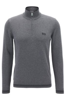 Cotton-blend sweater with a zip neck, Grey