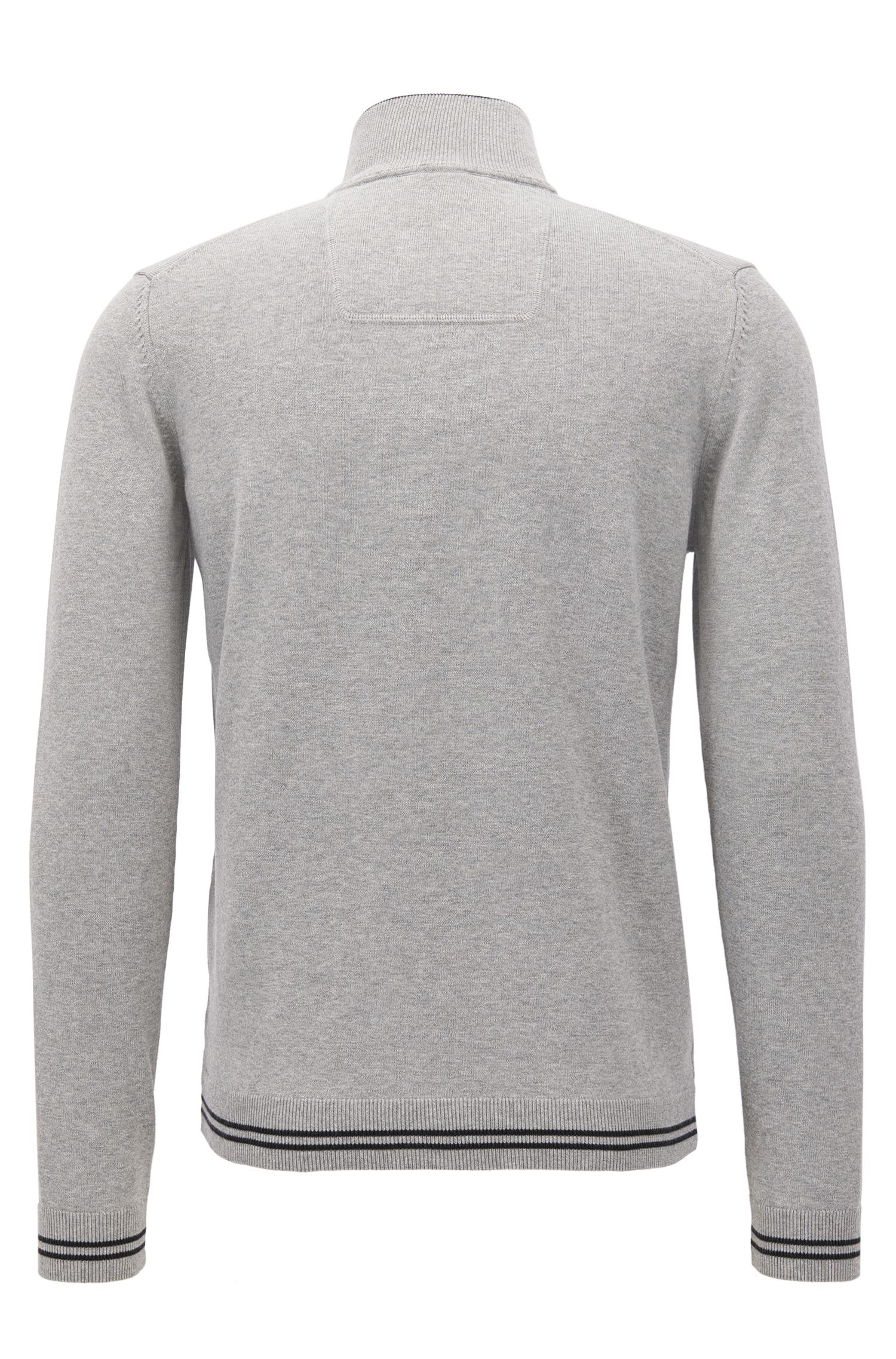 Cotton-blend sweater with a zip neck