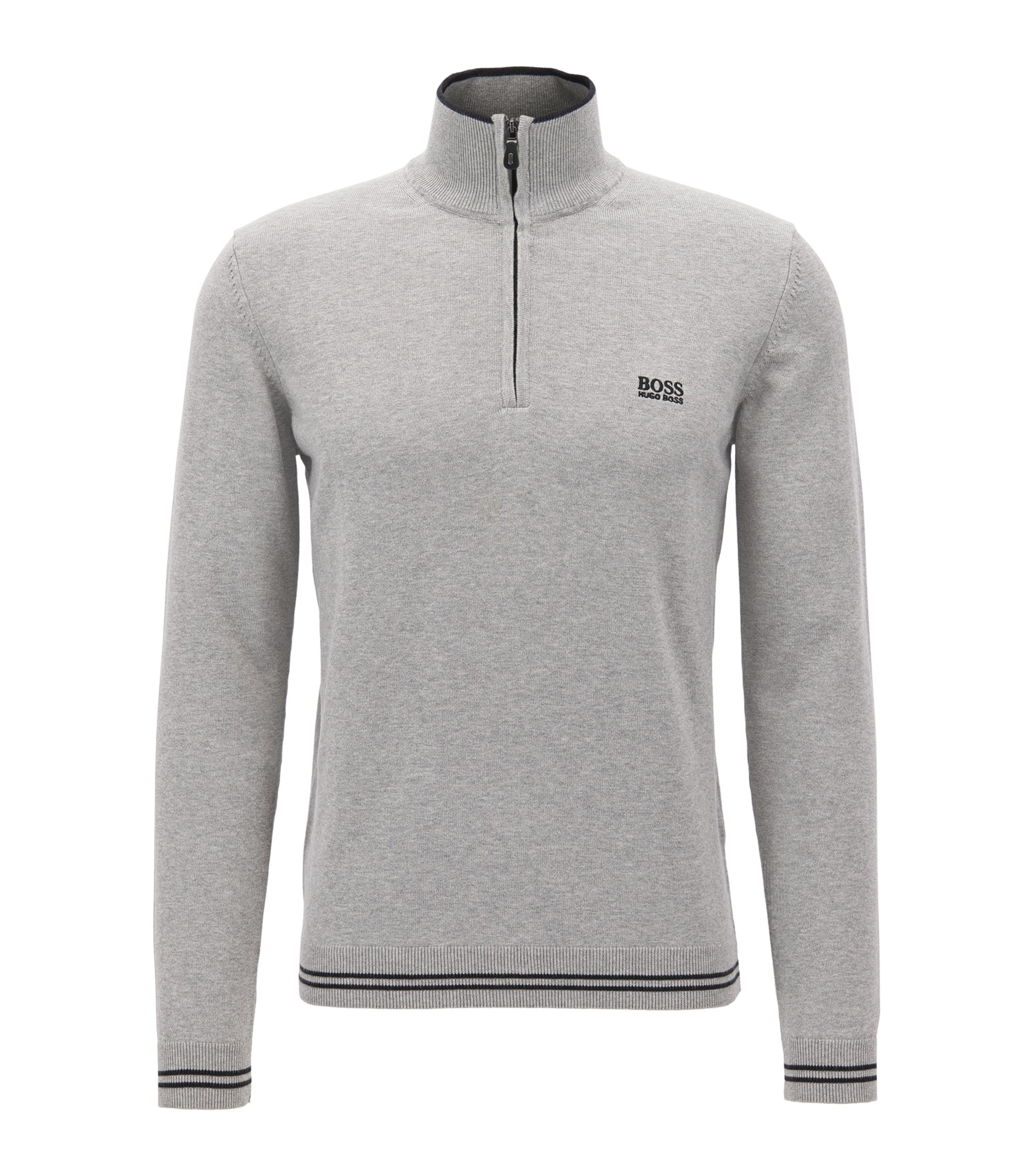 Cotton-blend sweater with a zip neck, Light Grey