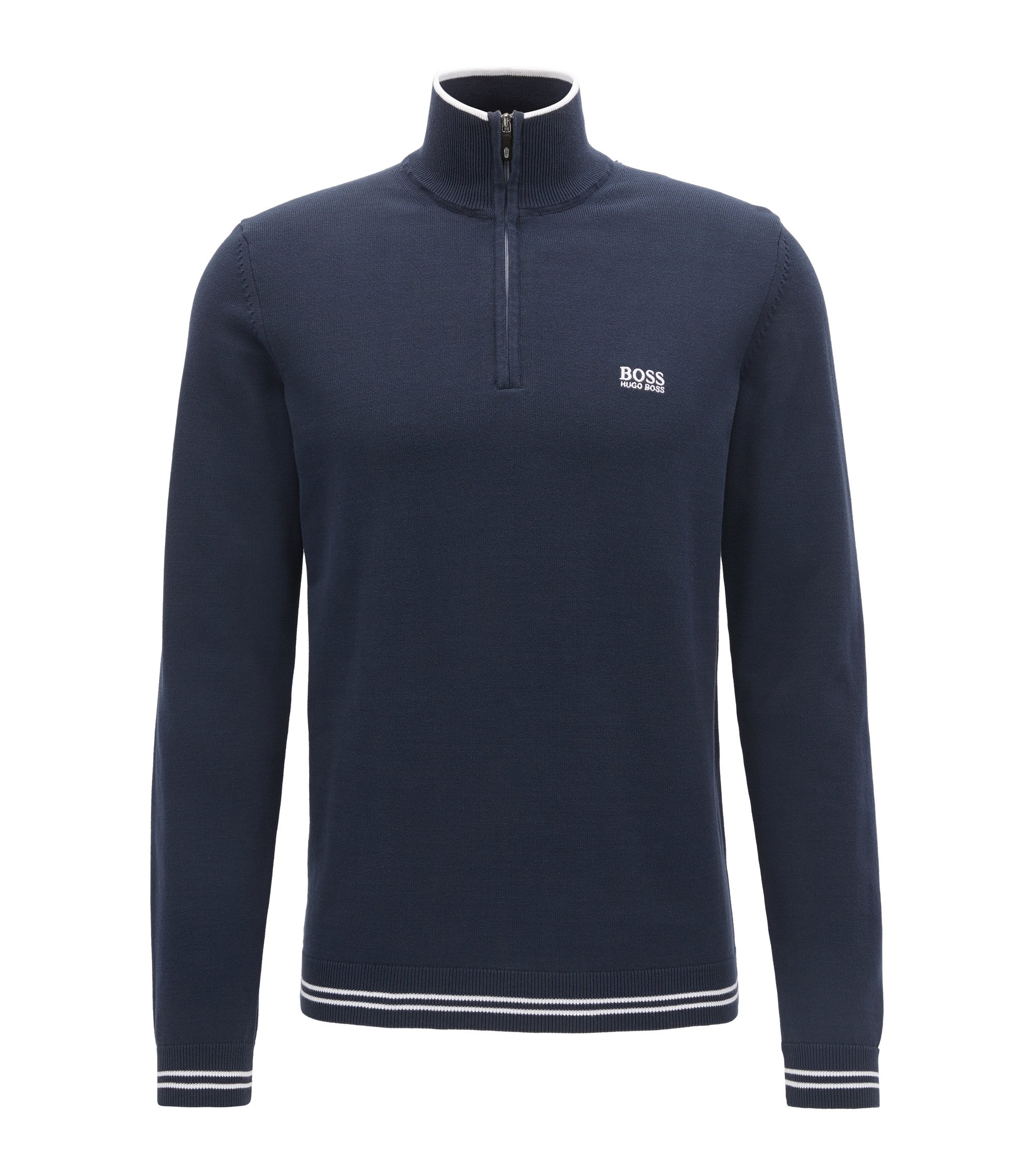 Cotton-blend sweater with a zip neck, Dark Blue