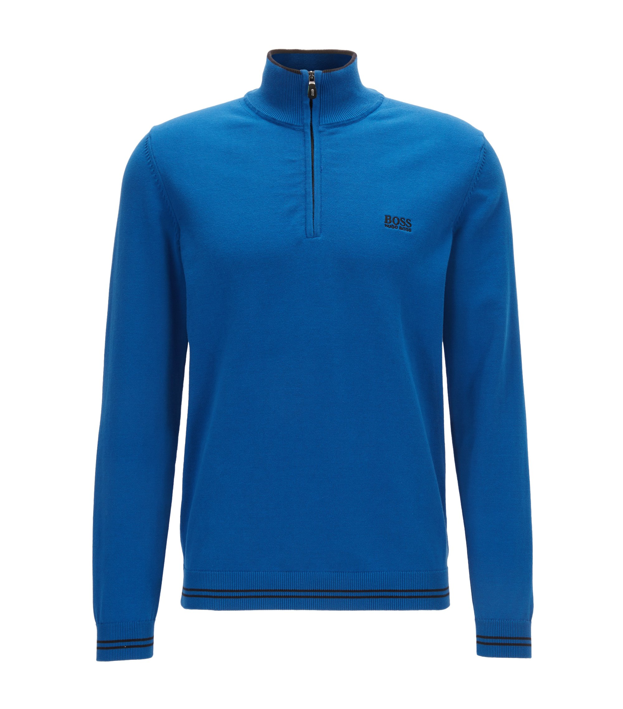 Cotton-blend sweater with a zip neck, Blue