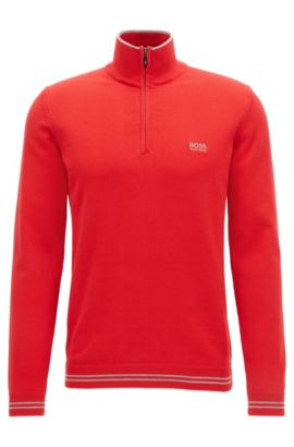 Cotton-blend sweater with a zip neck, Red