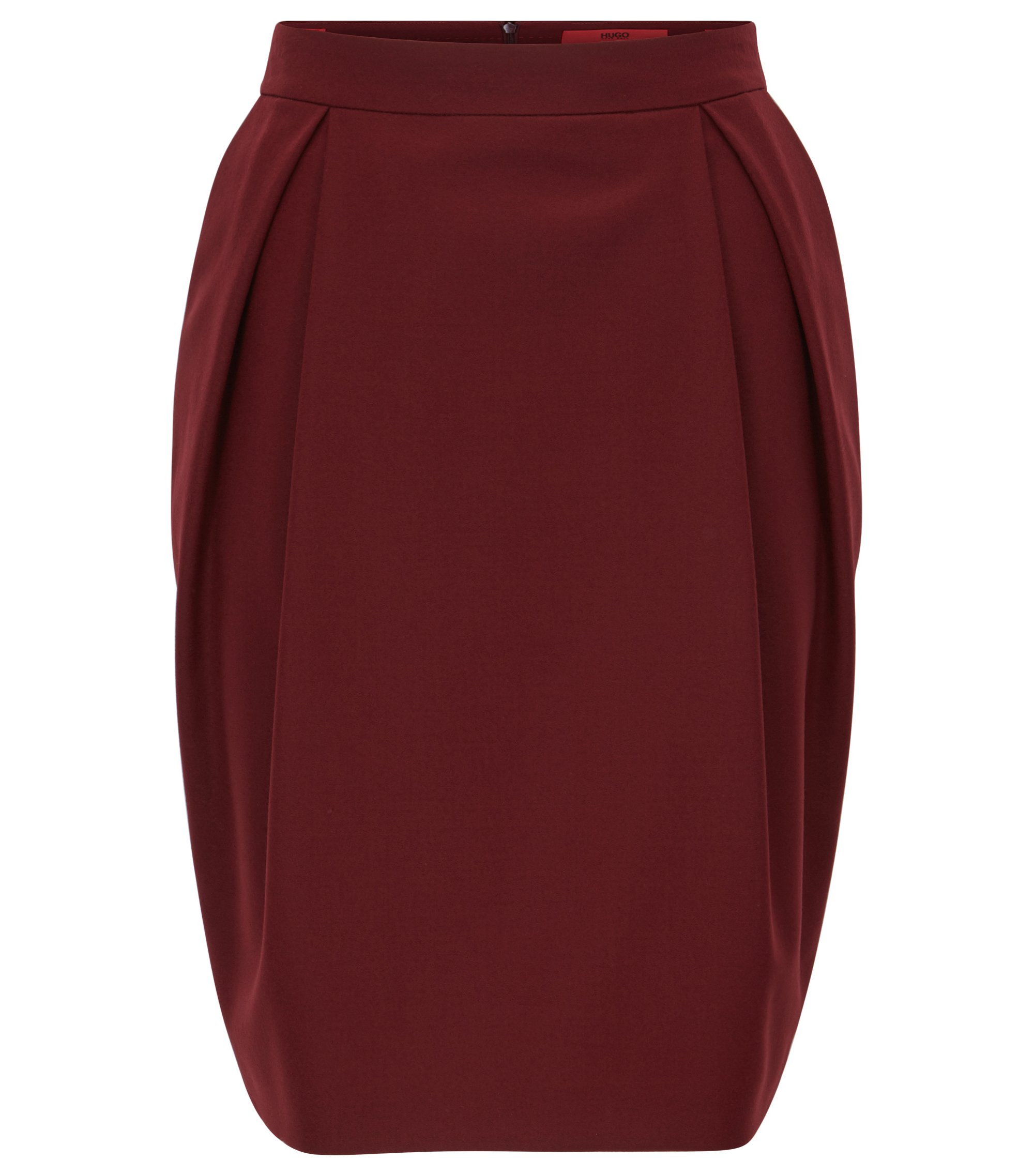 Balloon skirt in stretch virgin wool, Dark Red