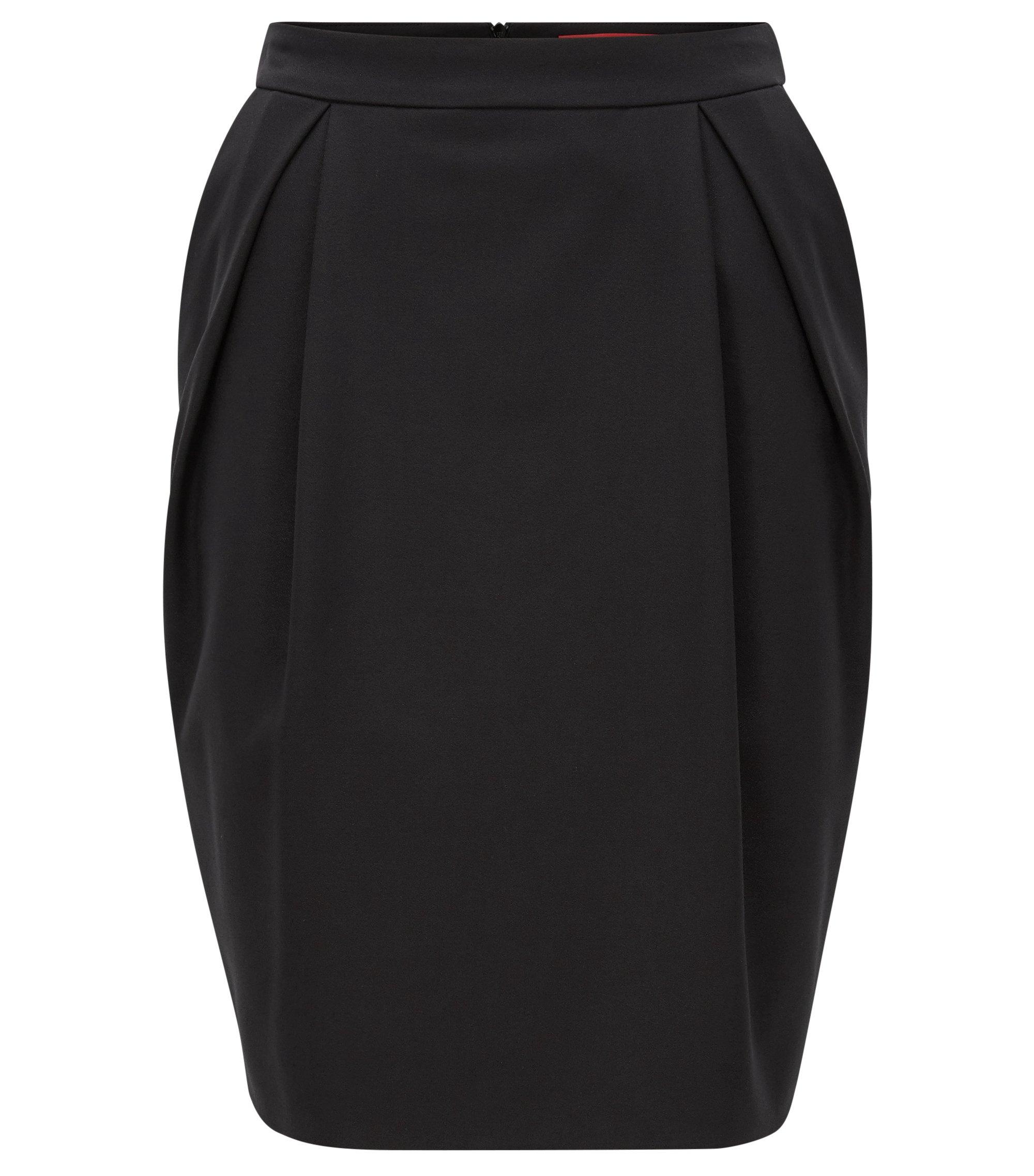 Falda globo en crepé elástico, Negro