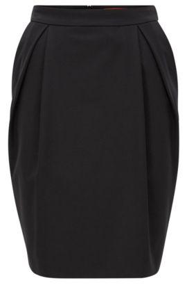 Regular-Fit Ballonrock aus elastischem Krepp, Schwarz