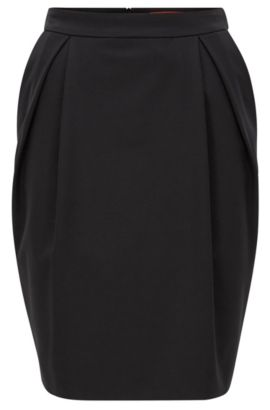 Balloon skirt in stretch crêpe, Zwart