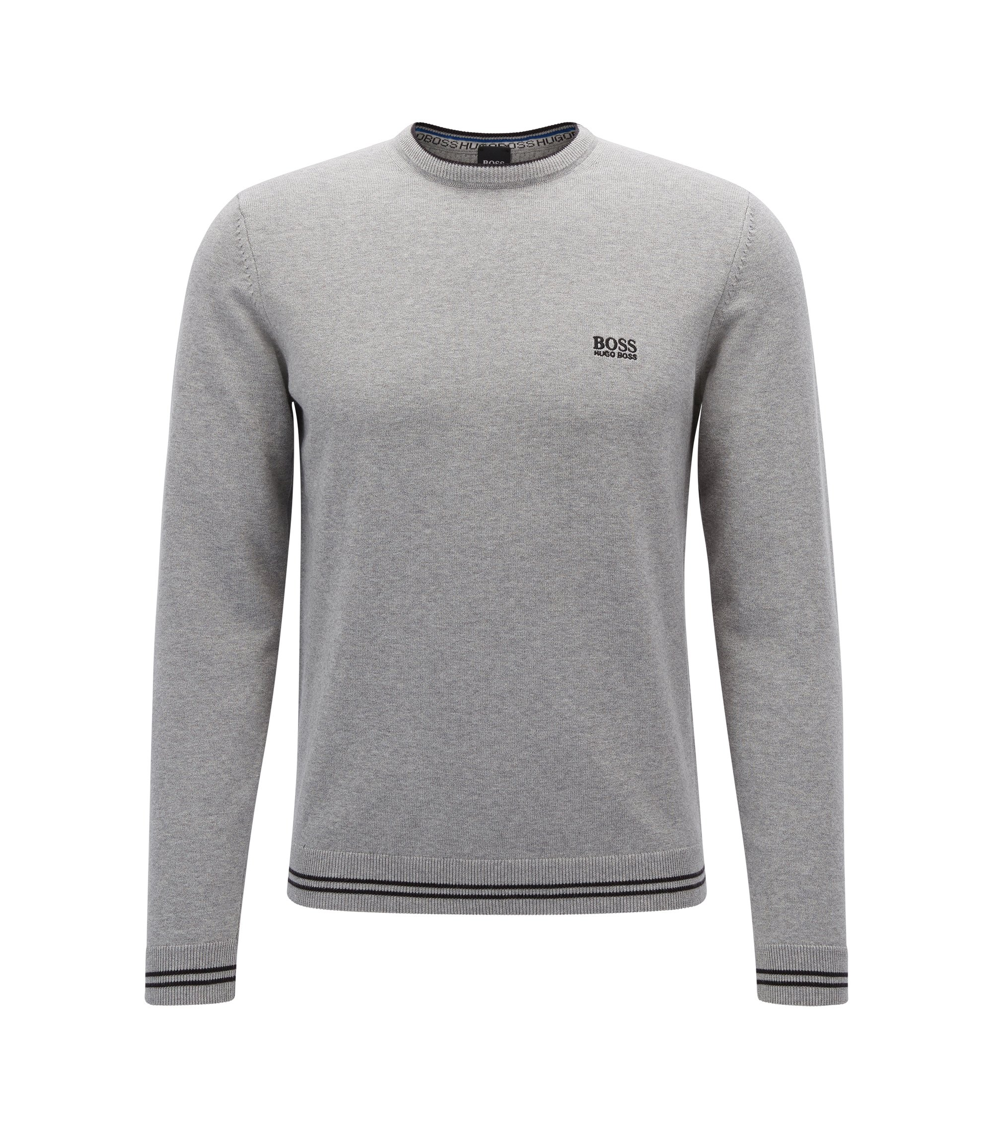 Crew-neck sweater in a cotton blend, Light Grey