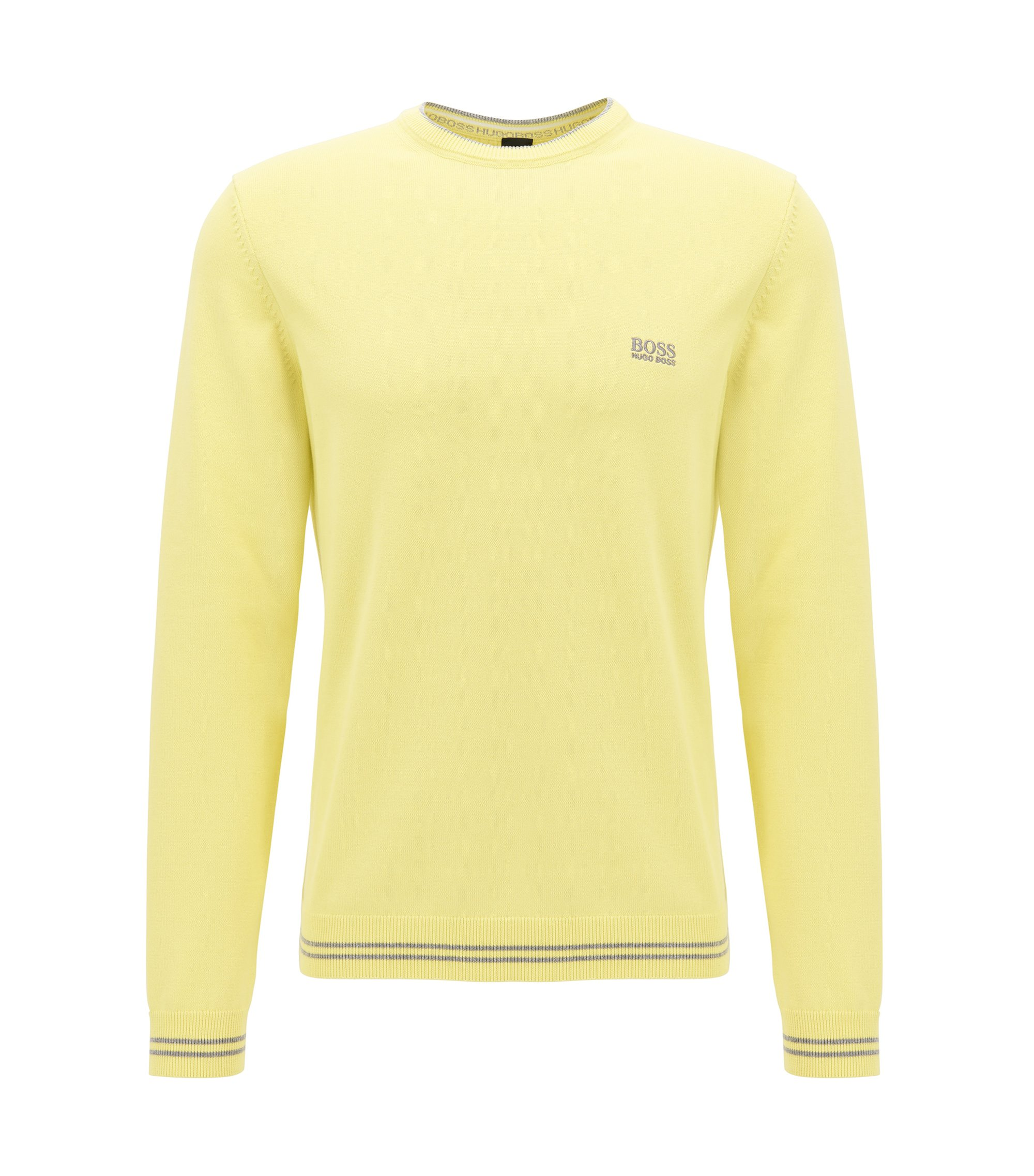 Crew-neck sweater in a cotton blend, Light Yellow
