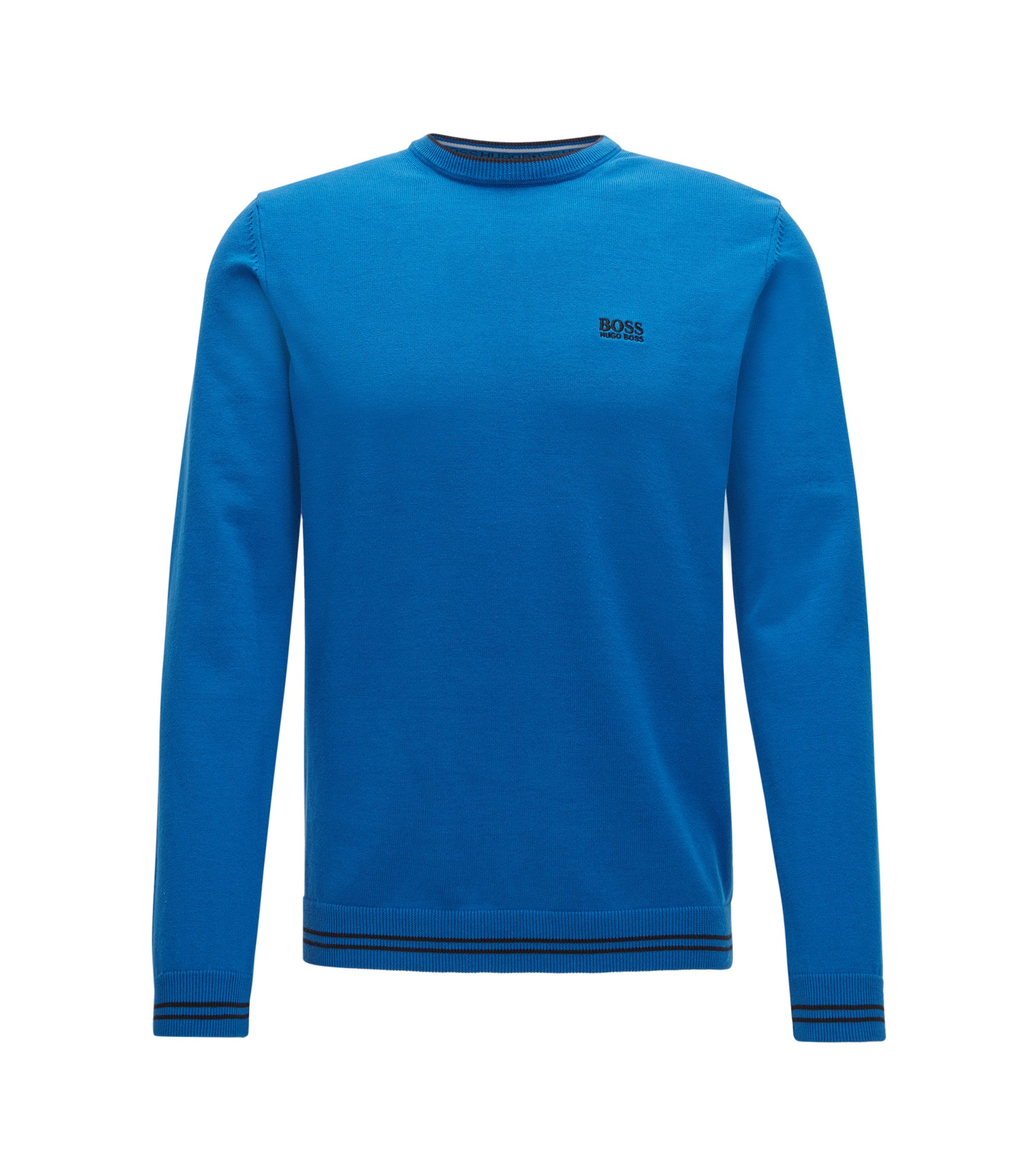 Crew-neck sweater in a cotton blend, Blue