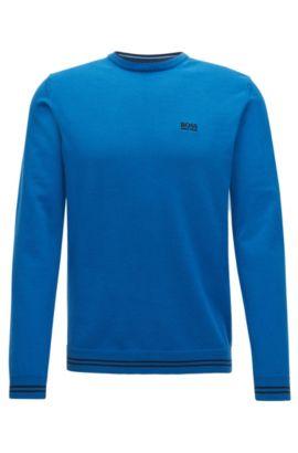 Pullover aus Baumwoll-Mix mit Rundhalsausschnitt, Blau