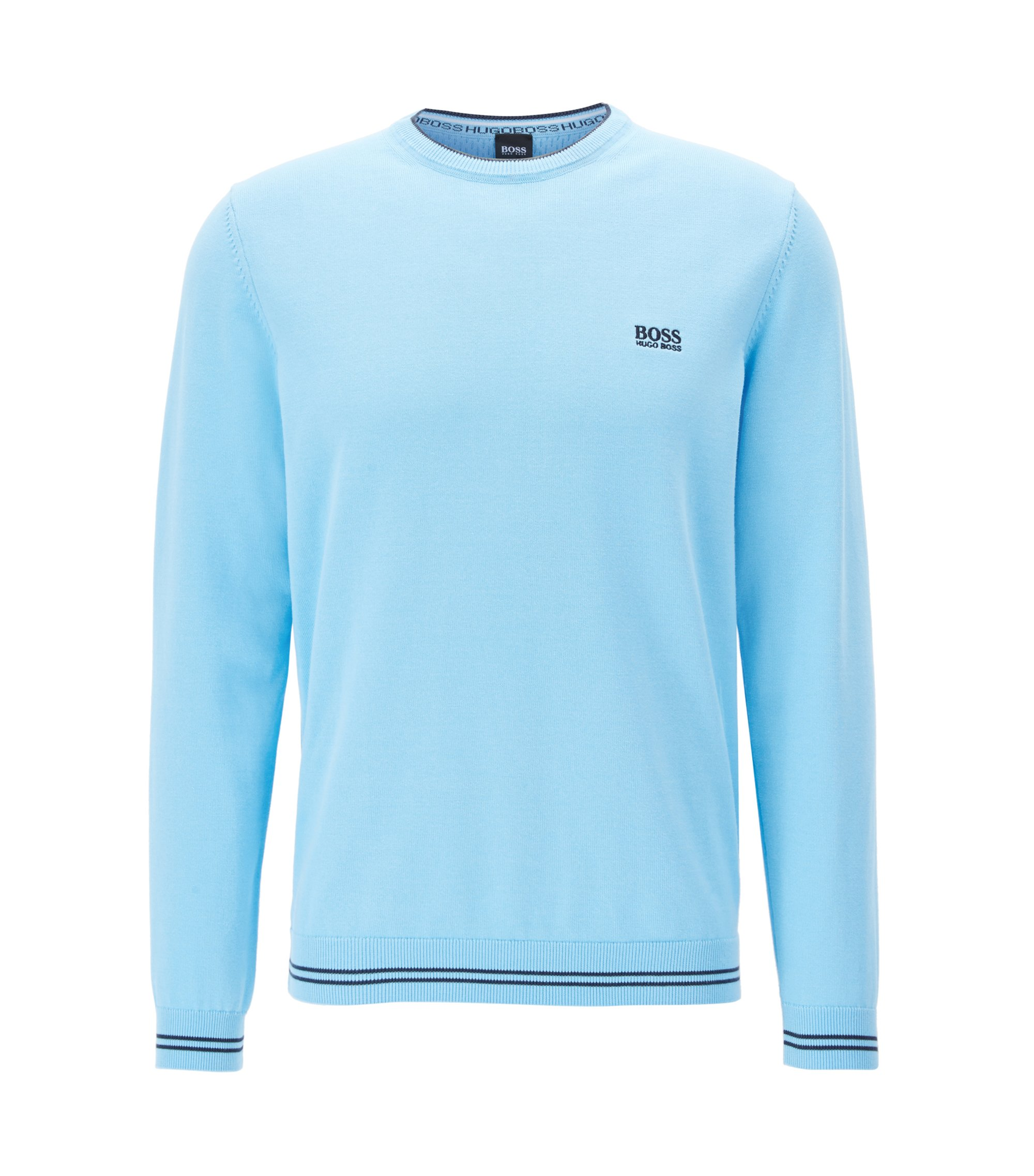 Crew-neck sweater in a cotton blend, Light Blue
