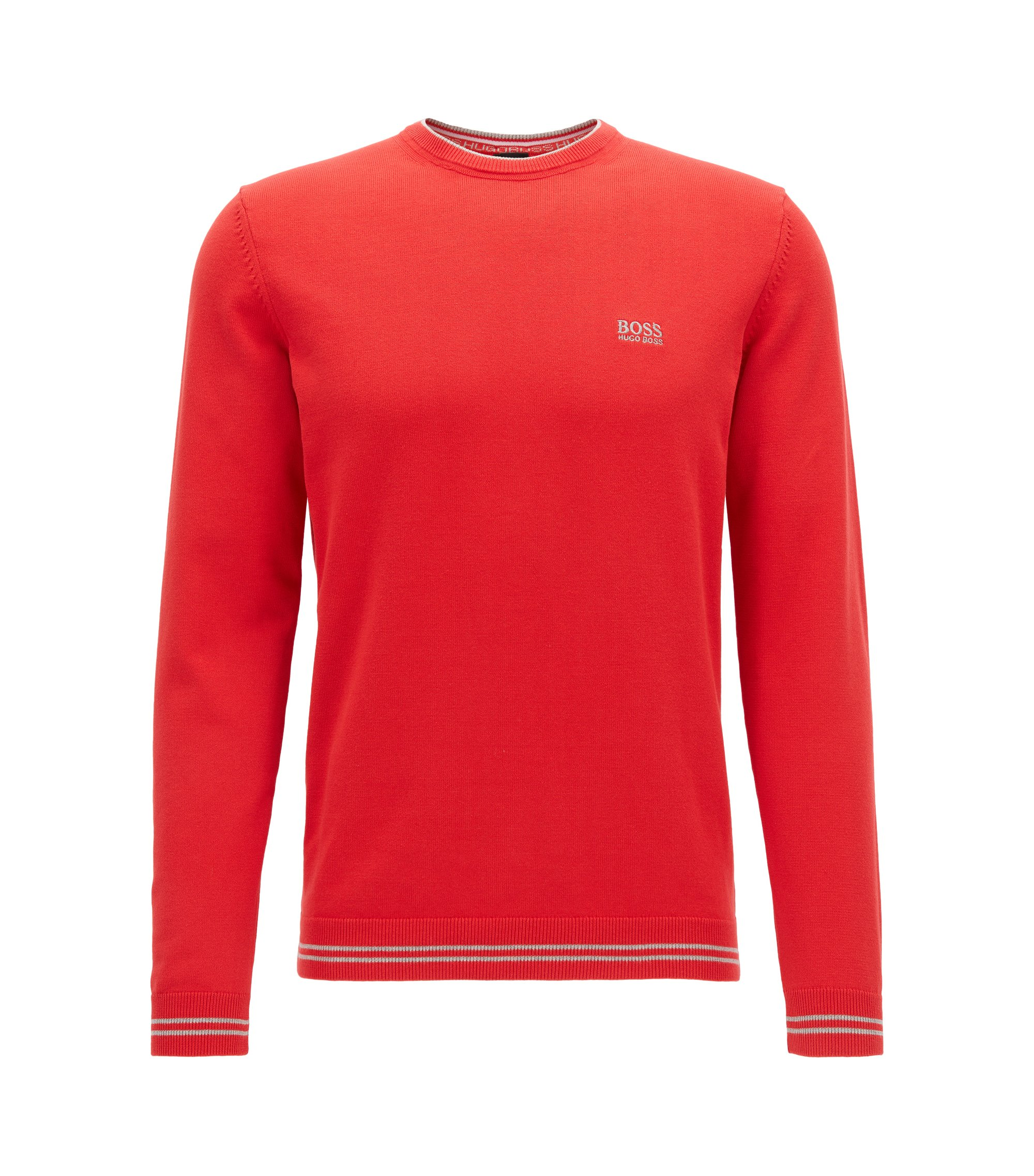Crew-neck sweater in a cotton blend, Red