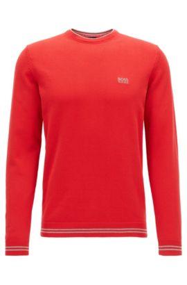 Jersey de cuello redondo en mezcla de algodón, Rojo