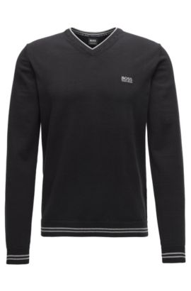 V-neck knitted sweater in a cotton blend, Black