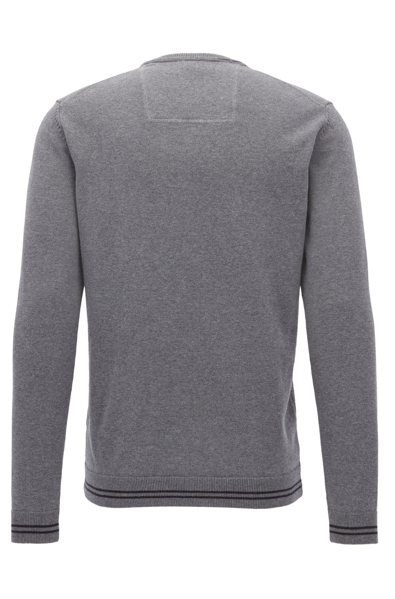 V-neck knitted sweater in a cotton blend