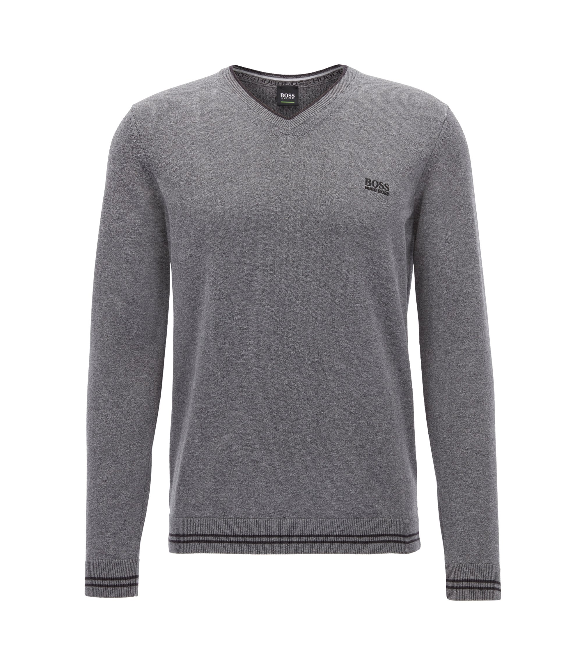 V-neck knitted sweater in a cotton blend, Grey