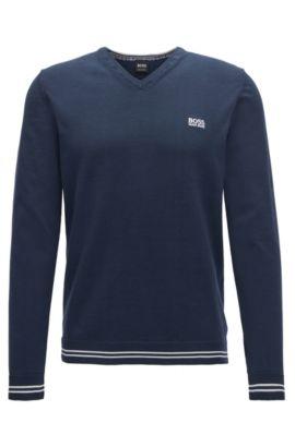 Jersey de punto con cuello en pico en mezcla de algodón, Azul oscuro