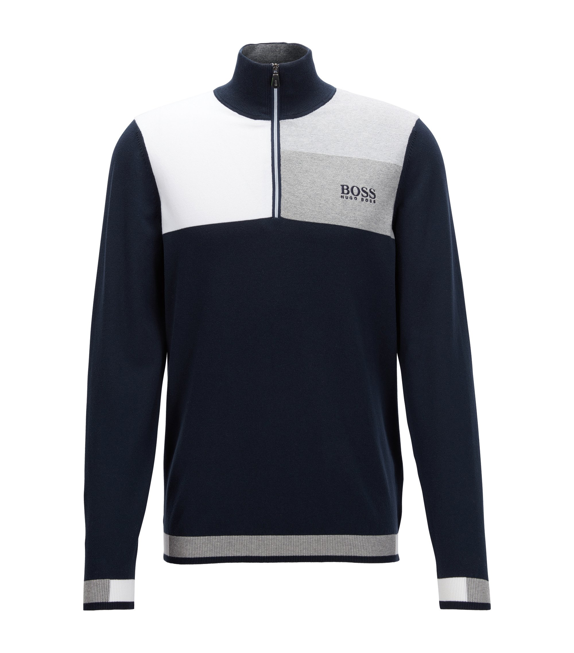 Pullover aus Baumwoll-Mix mit Troyer-Kragen aus der Professional Golf Collection, Dunkelblau