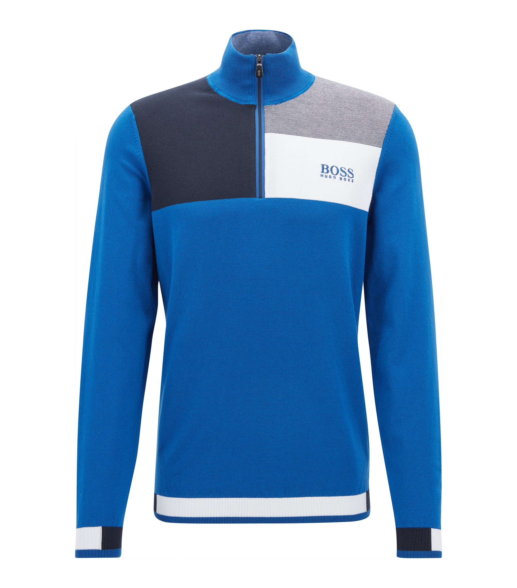 Pullover aus Baumwoll-Mix mit Troyer-Kragen aus der Professional Golf Collection, Blau