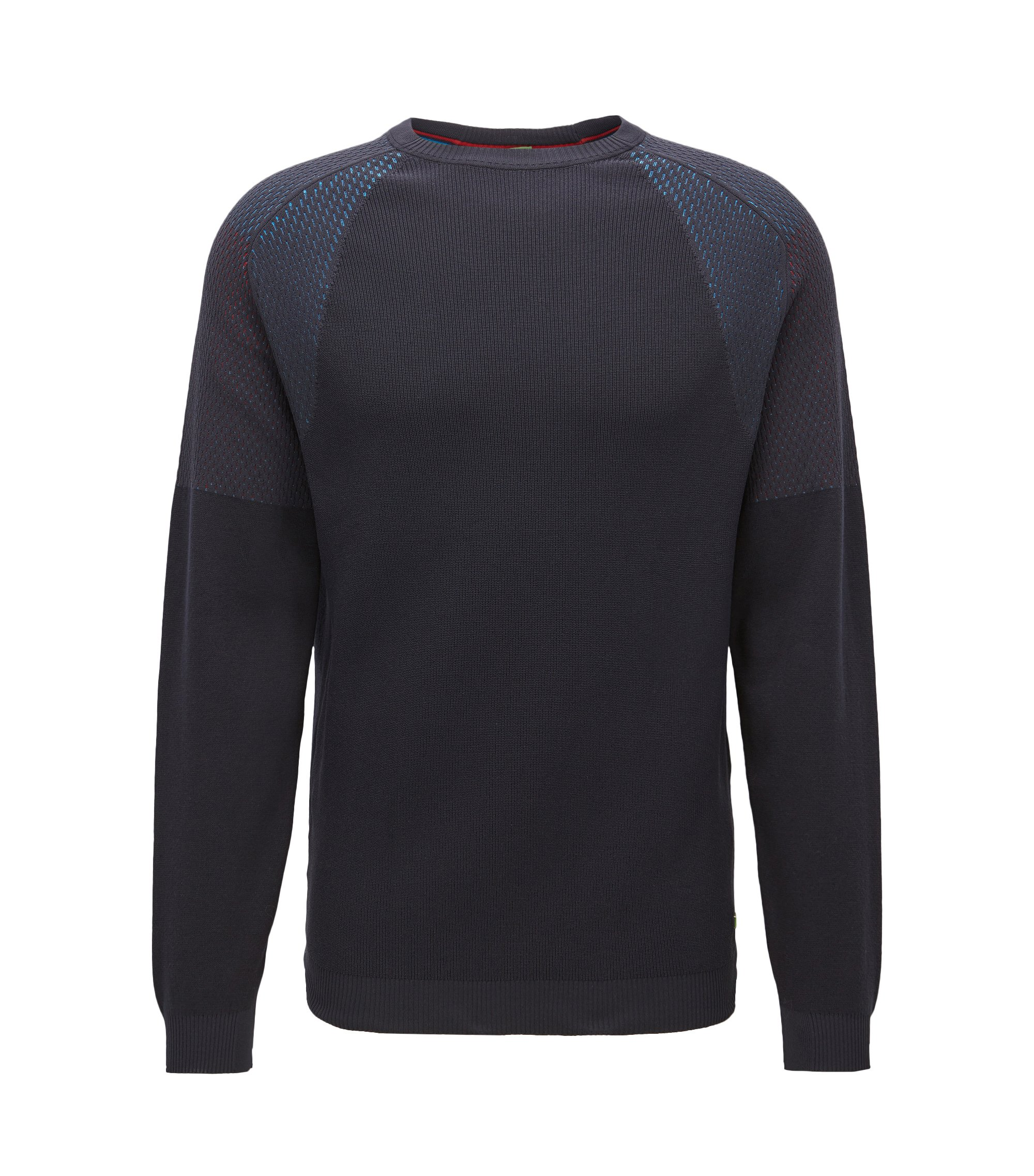 Crew-neck sweater in mixed structures, Black