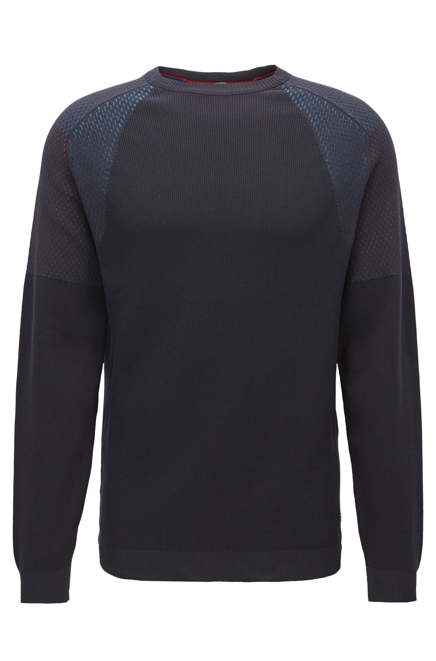 Crew-neck sweater in mixed structures