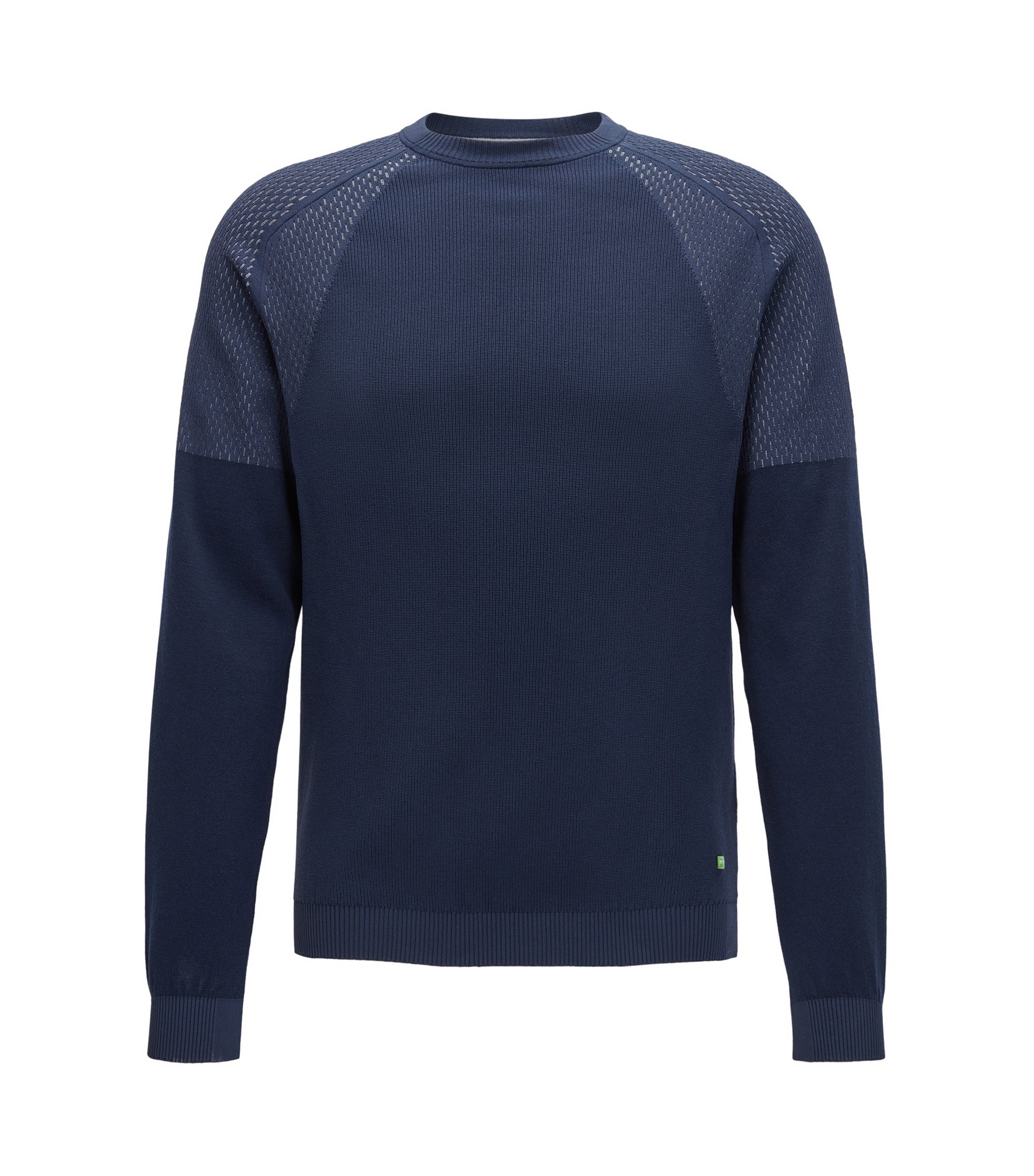 Crew-neck sweater in mixed structures, Dark Blue