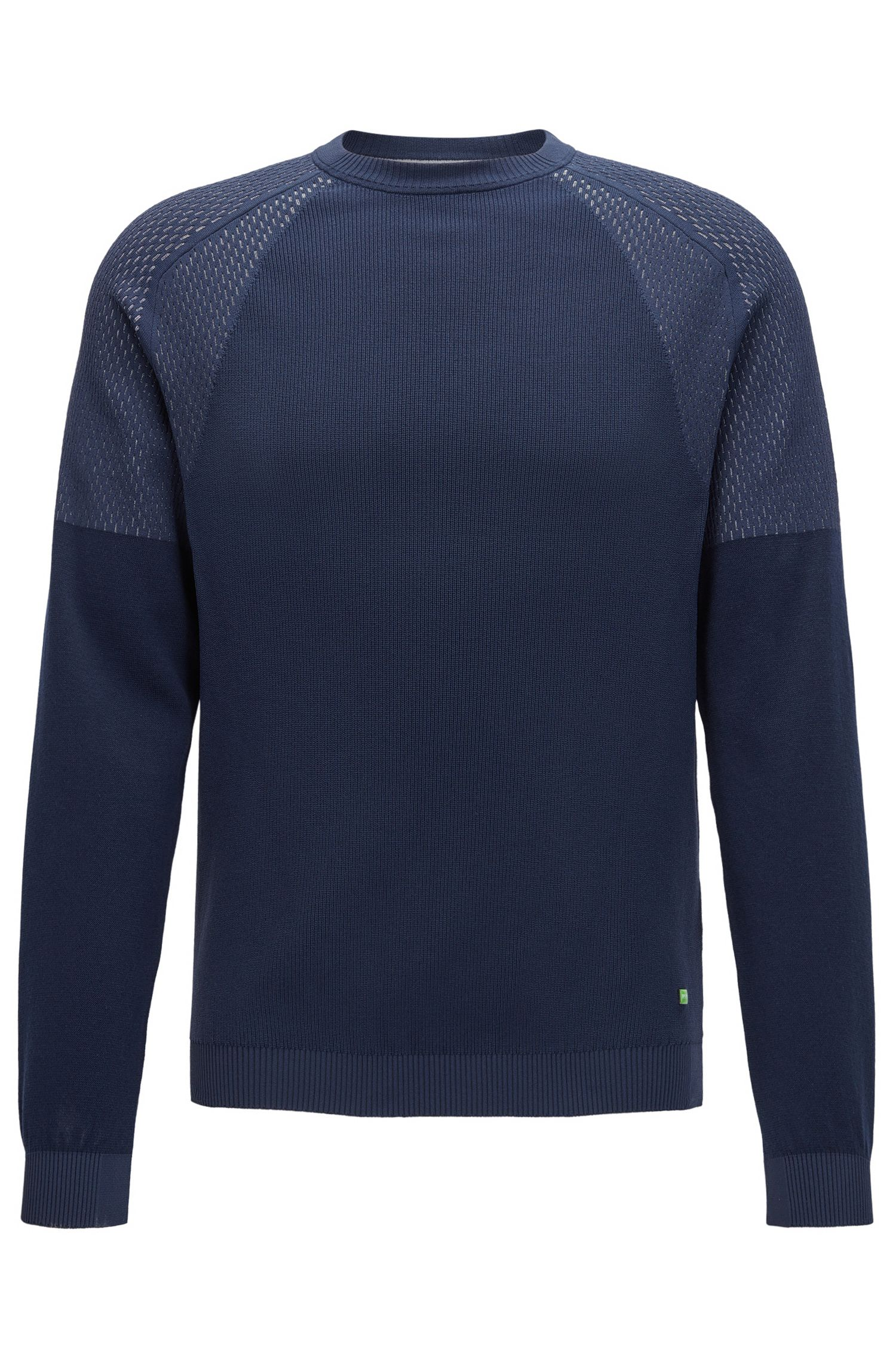 Jersey de cuello redondo con diferentes texturas