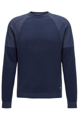 Jersey de cuello redondo con diferentes texturas, Azul oscuro
