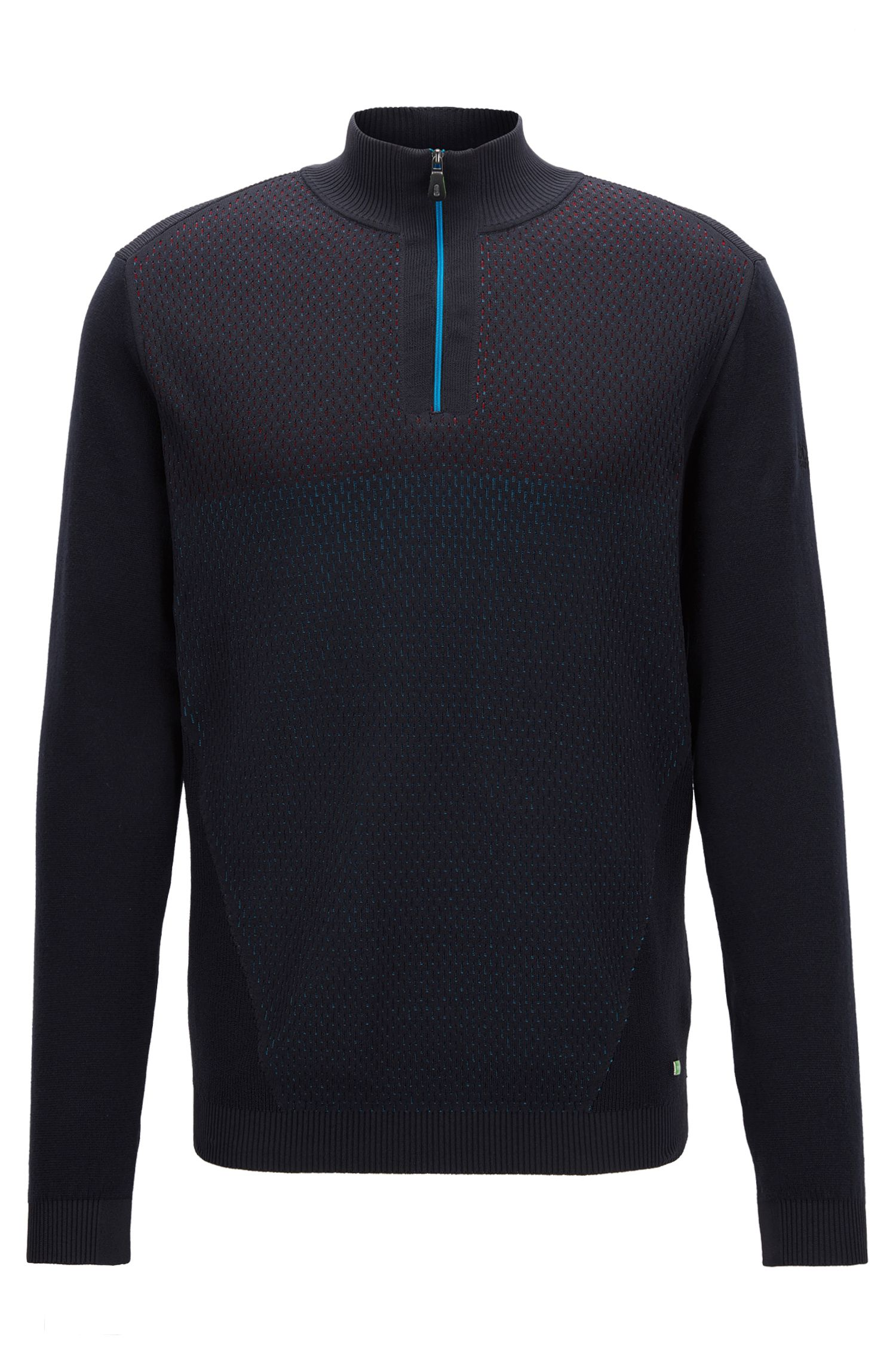 Zip-neck sweater in a cotton blend