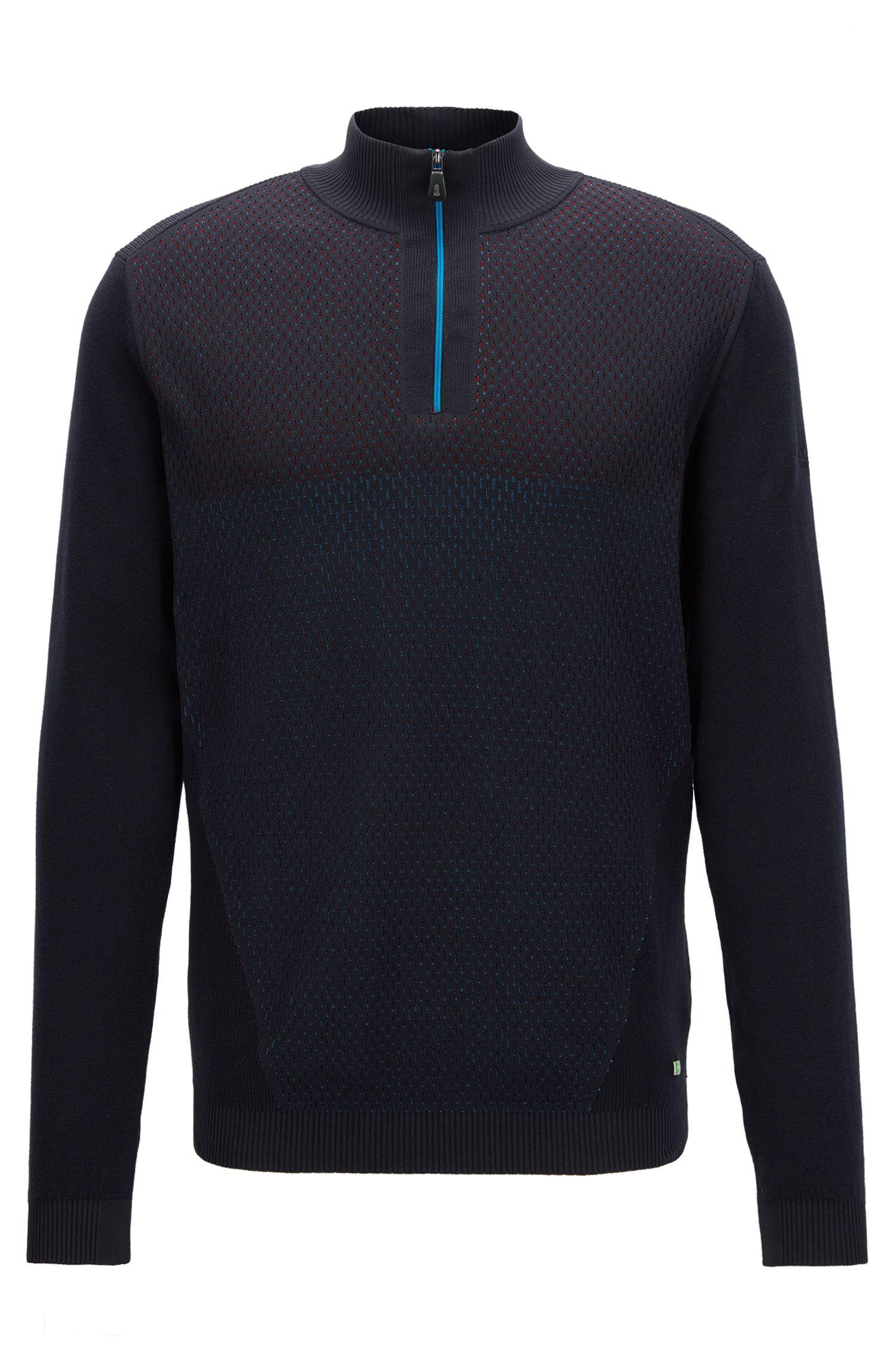 Jersey de cuello con cremallera en mezcla de algodón