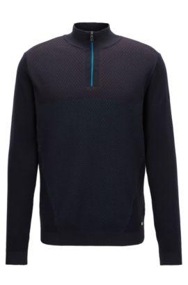 Jersey de cuello con cremallera en mezcla de algodón, Negro